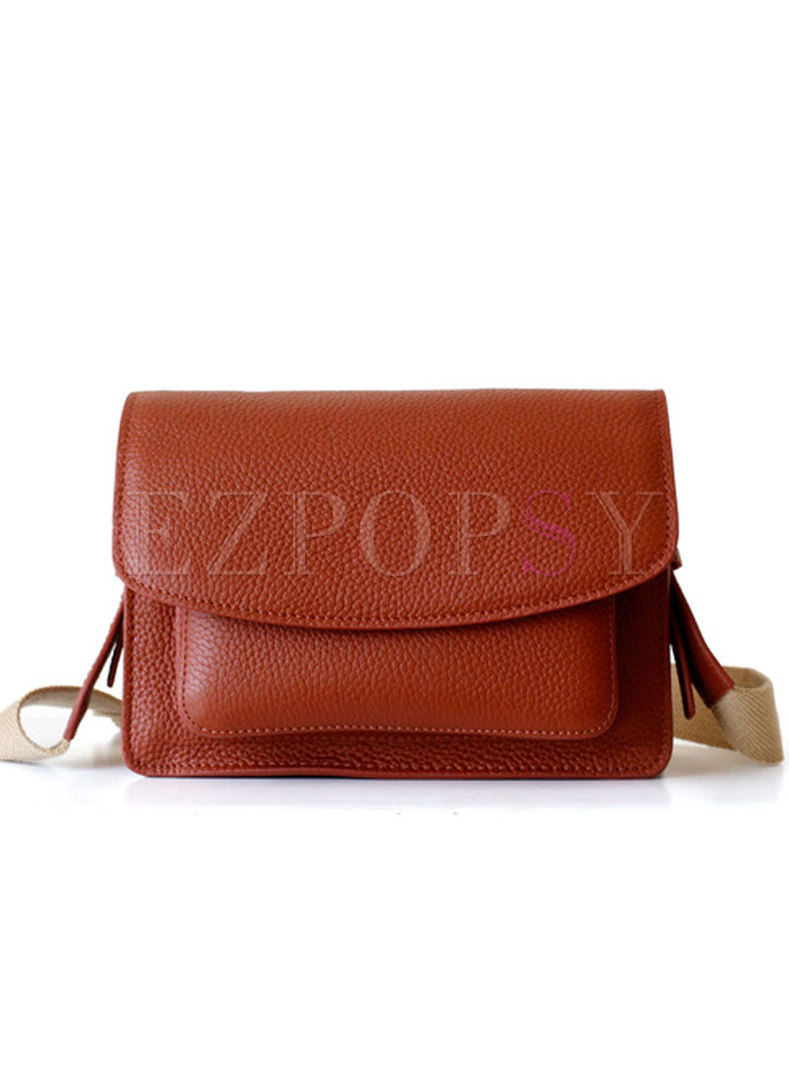 Stylish Red-brown Solid Cowhide Crossbody Bag