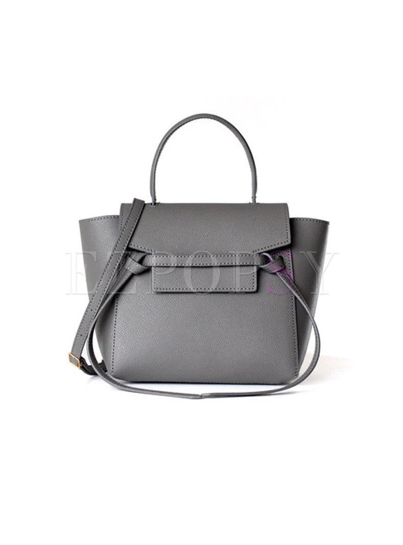 Deep Grey Easy-matching Genuine Leather Top Handle Bag
