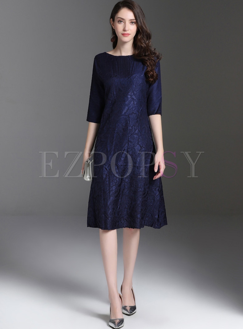 Plus Size Solid Color Pullover Loose A Line Dress