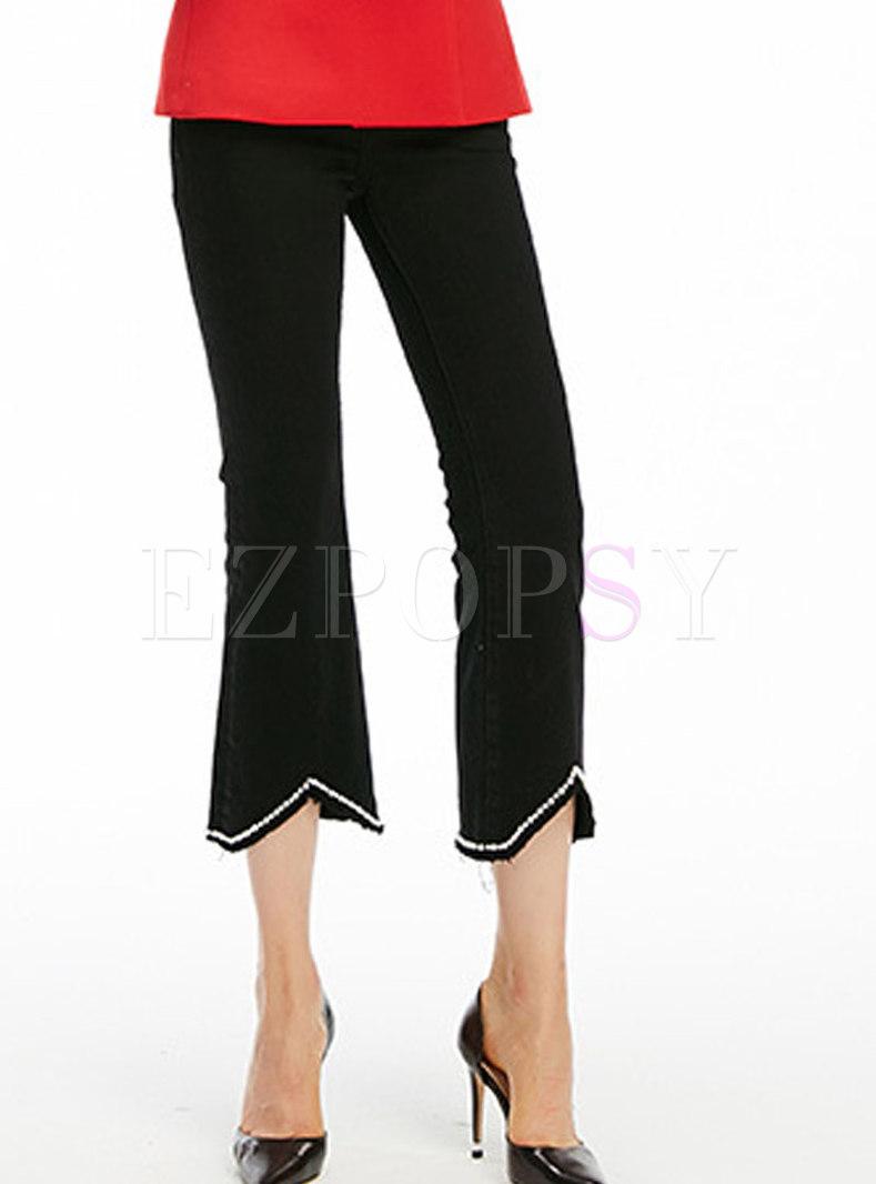 Casual Black High Waist Flare Hem Denim Pants With Pearl