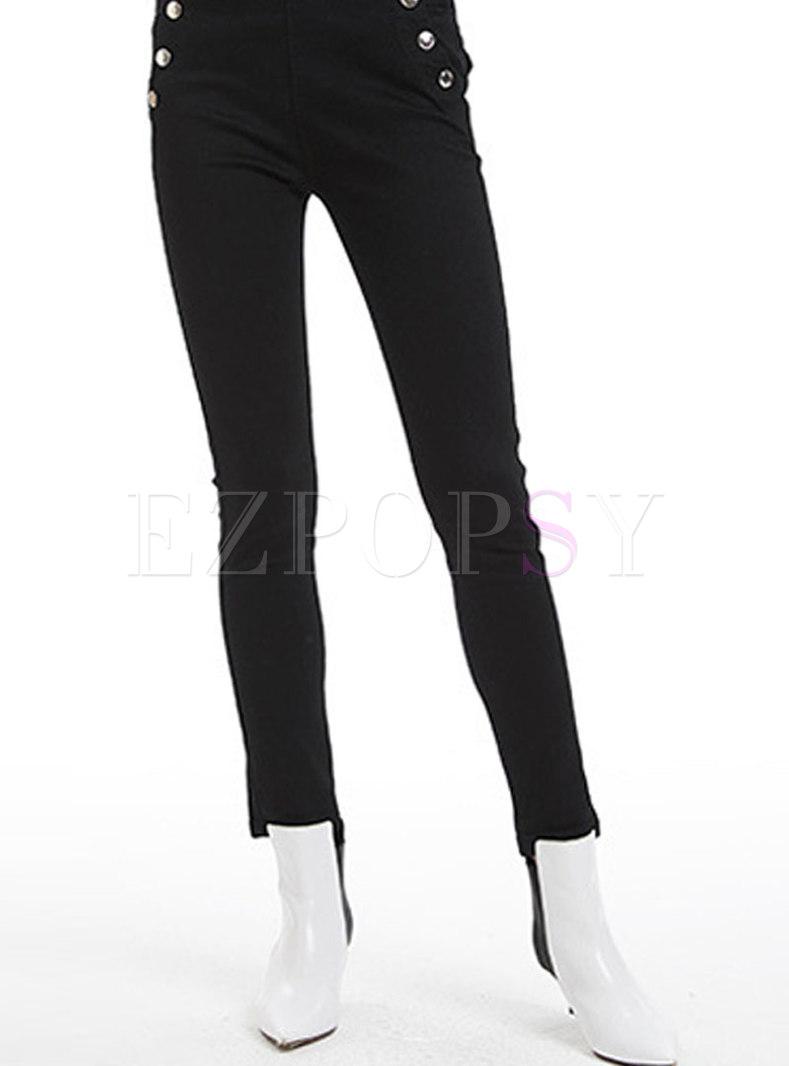 Stylish Black Button Decoration Denim Slim Pants