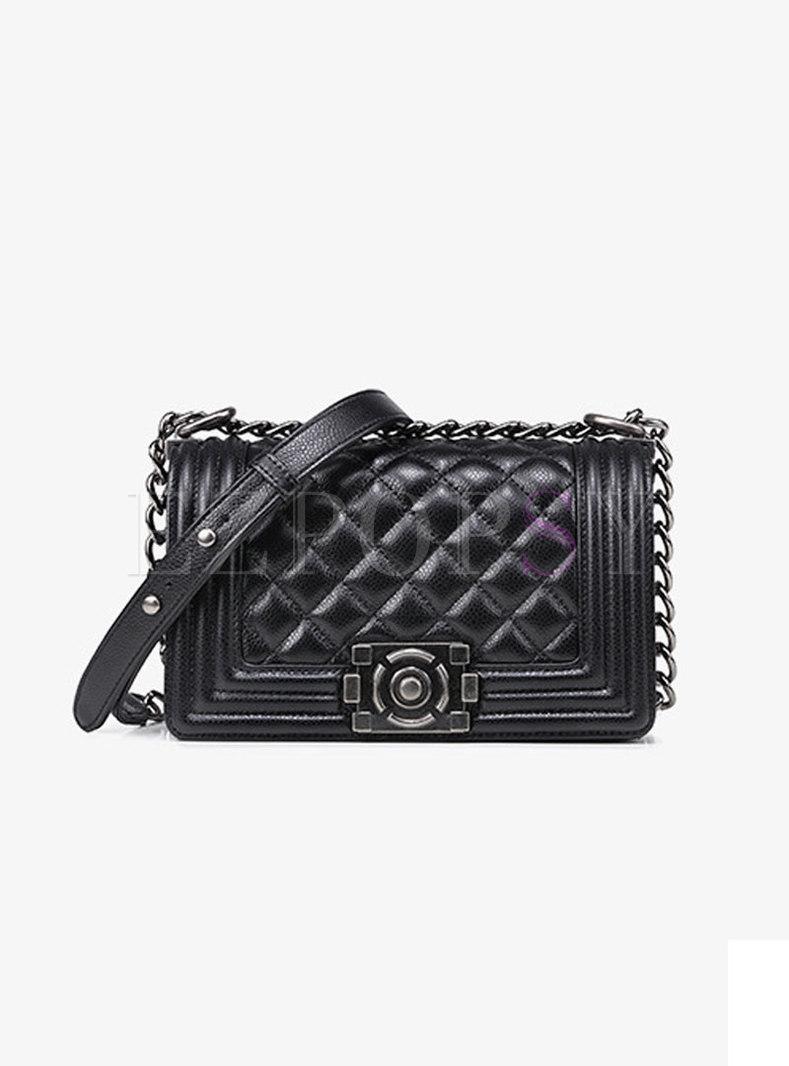 Autumn Black Cowhide Clasp Lock Chain Crossbody Bag