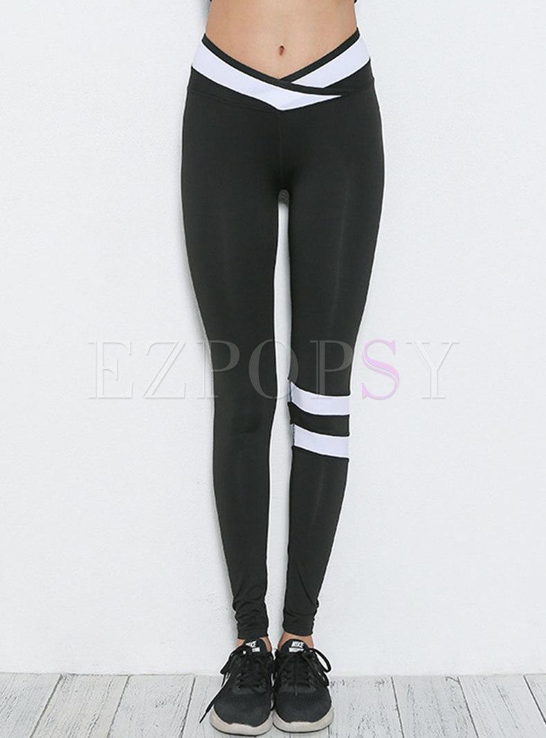 Stylish Hit Color Slim Yoga Pants