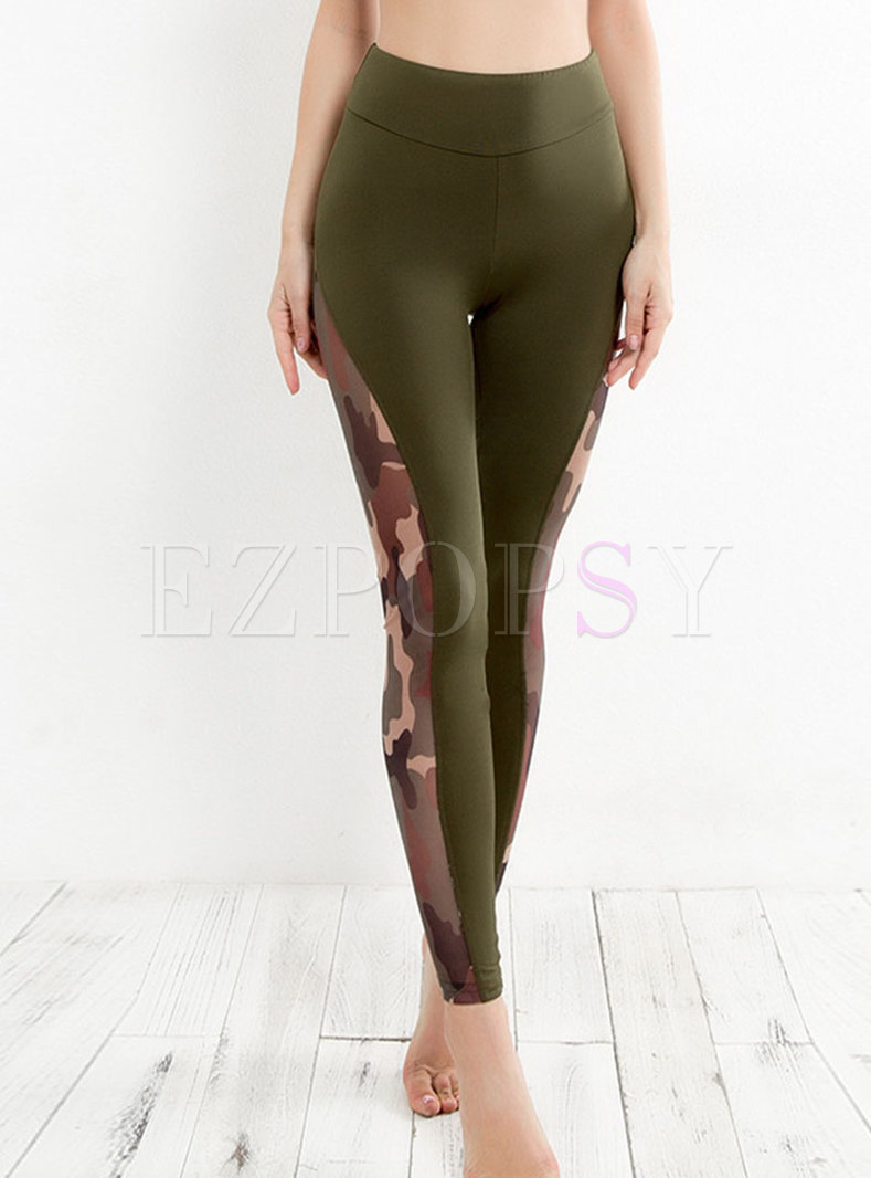 Chic Canmouflage Splicing Slim Yoga Pants