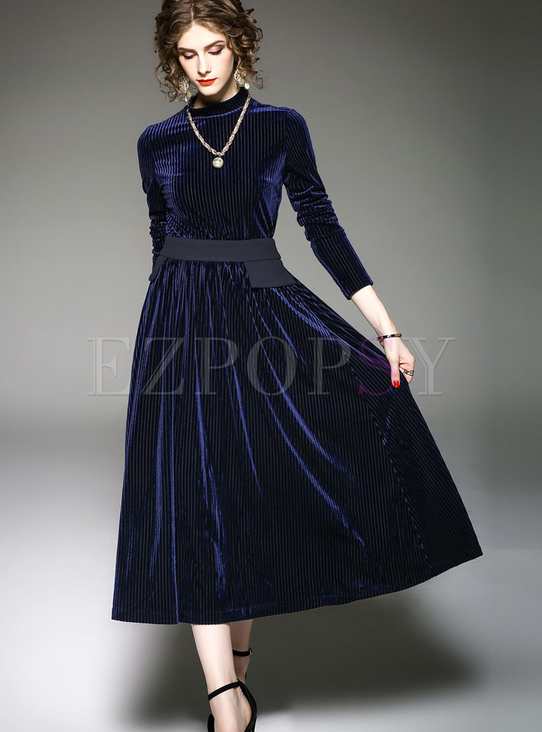 Fashion Blue Long Sleeve Top & High Waist Big Hem Skirt