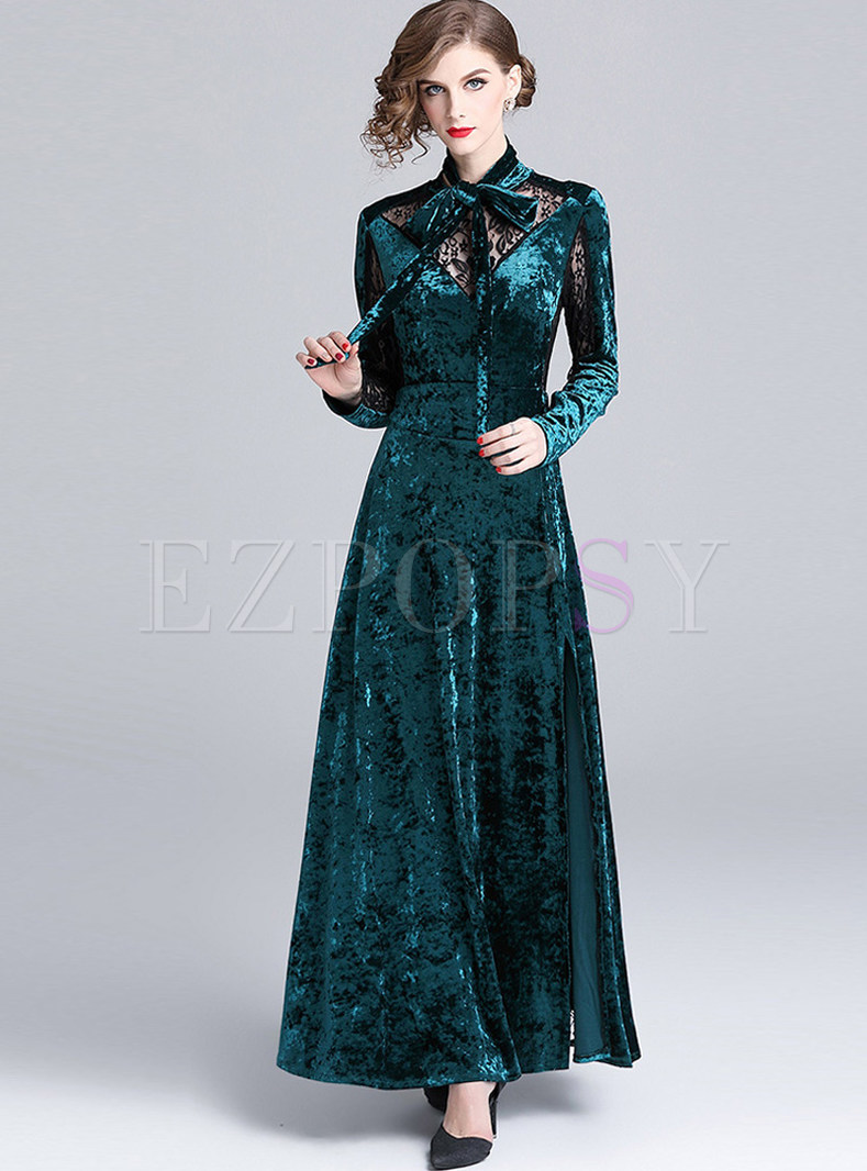 Hollow Out Lace Splicing Waist Slim Slit Maxi Dress