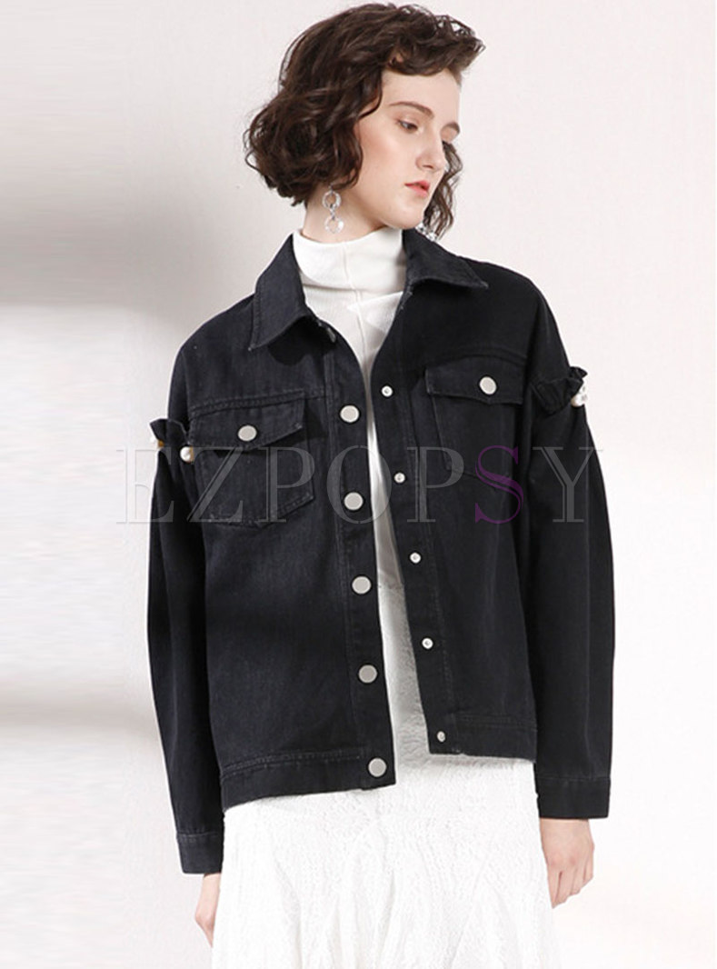 Trendy Lapel Beaded Single-breasted Short Coat