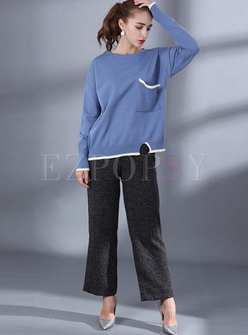 Color-blocked O-neck Loose Asymmetric Sweater & Straight Pants