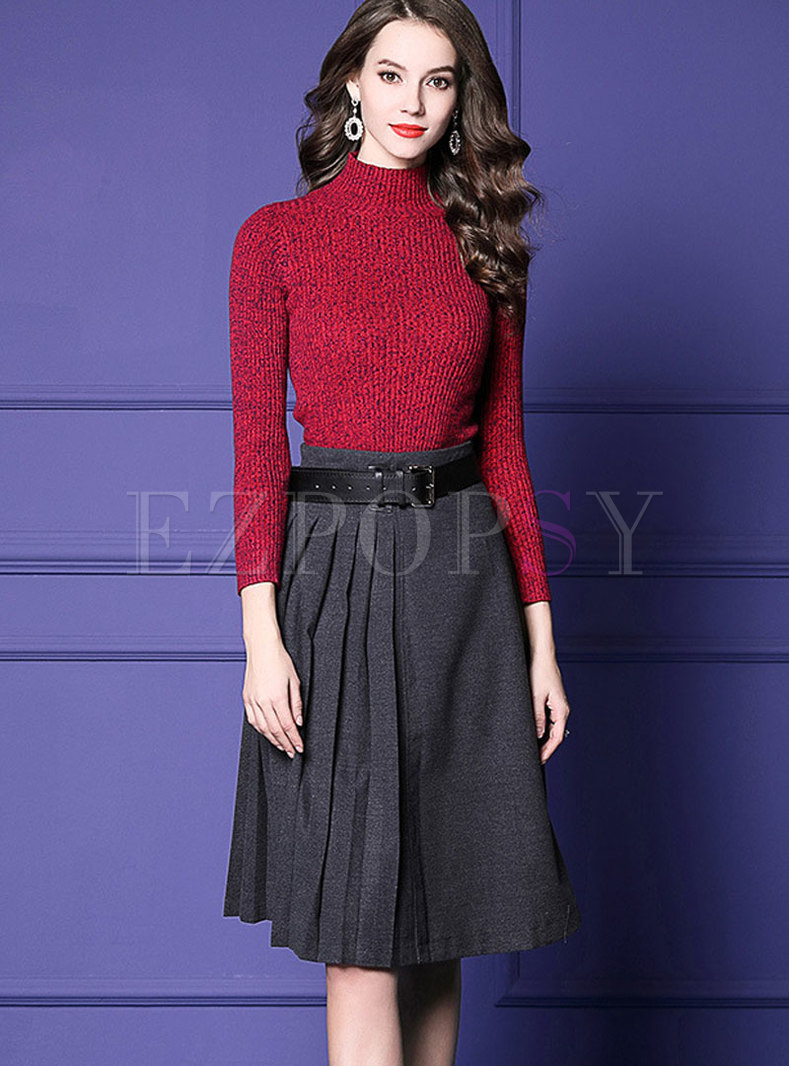 Elegant Half Turtle Neck Sweater & High Waist Belted Skirt