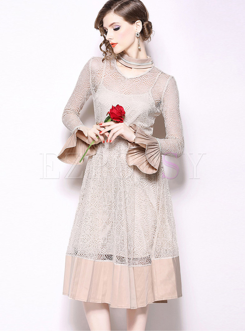 Sweet Standing Collar Flare Sleeve A Line Dress