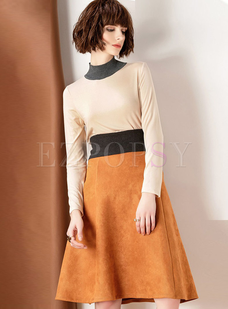Fashion High Neck Long Sleeve Top & High Waist Skirt