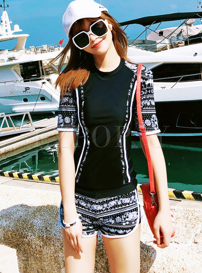 O-neck Short Sleeve Print Casual Siwmmer