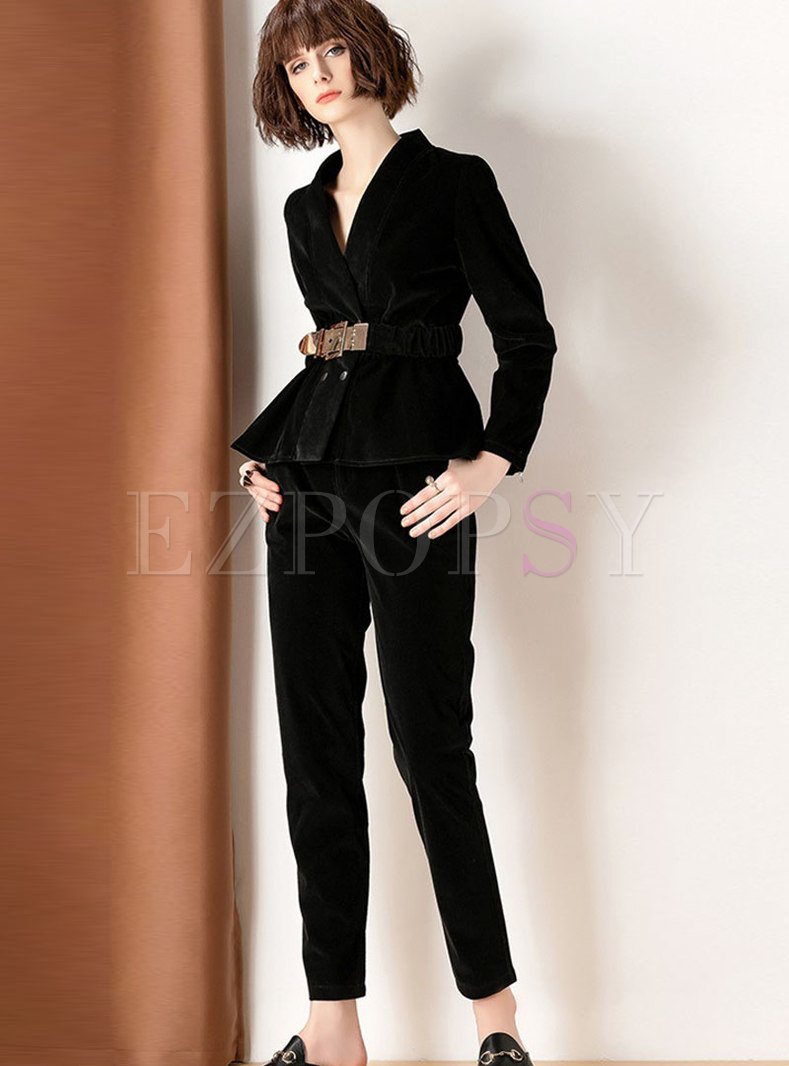 Stylish Notched Long Sleeve Coat & High Waist Slim Pants