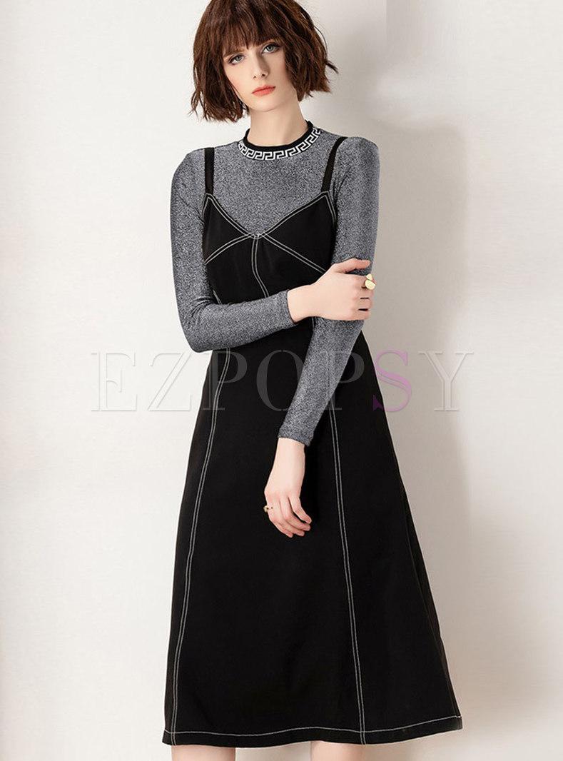 Trendy Crew-neck T-Shirt & Black Strap Big Hem Dress