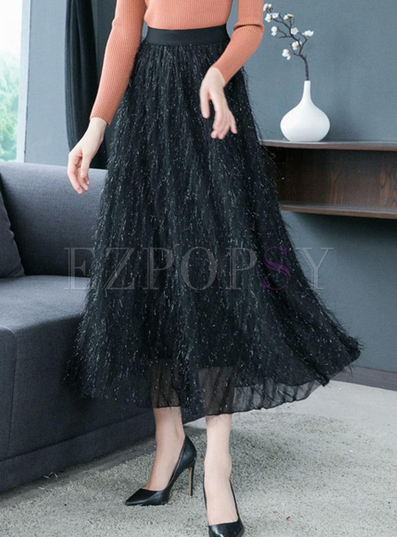 Chic ELastic Waist Tassel Patch A Line Skirt