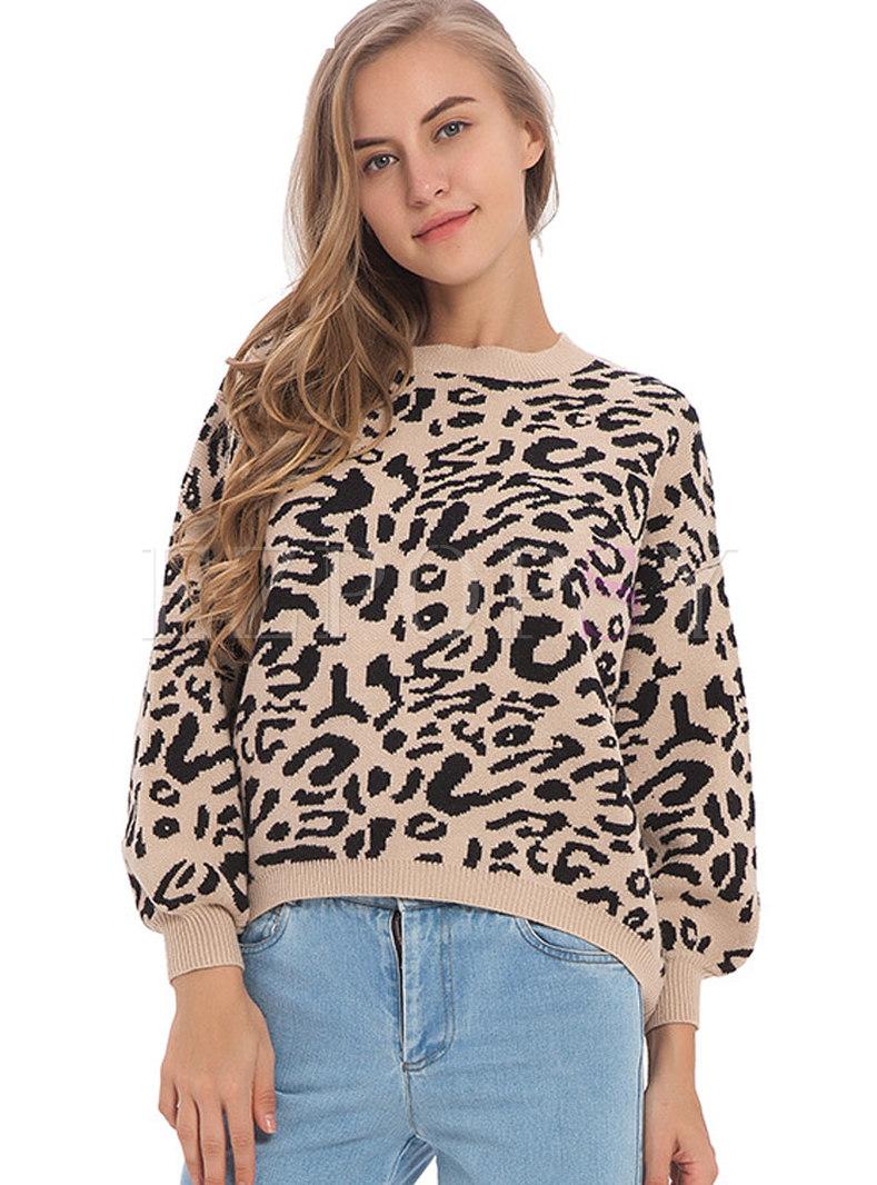 Fashion Khaki Crew-neck Long Sleeve Leopard Sweater