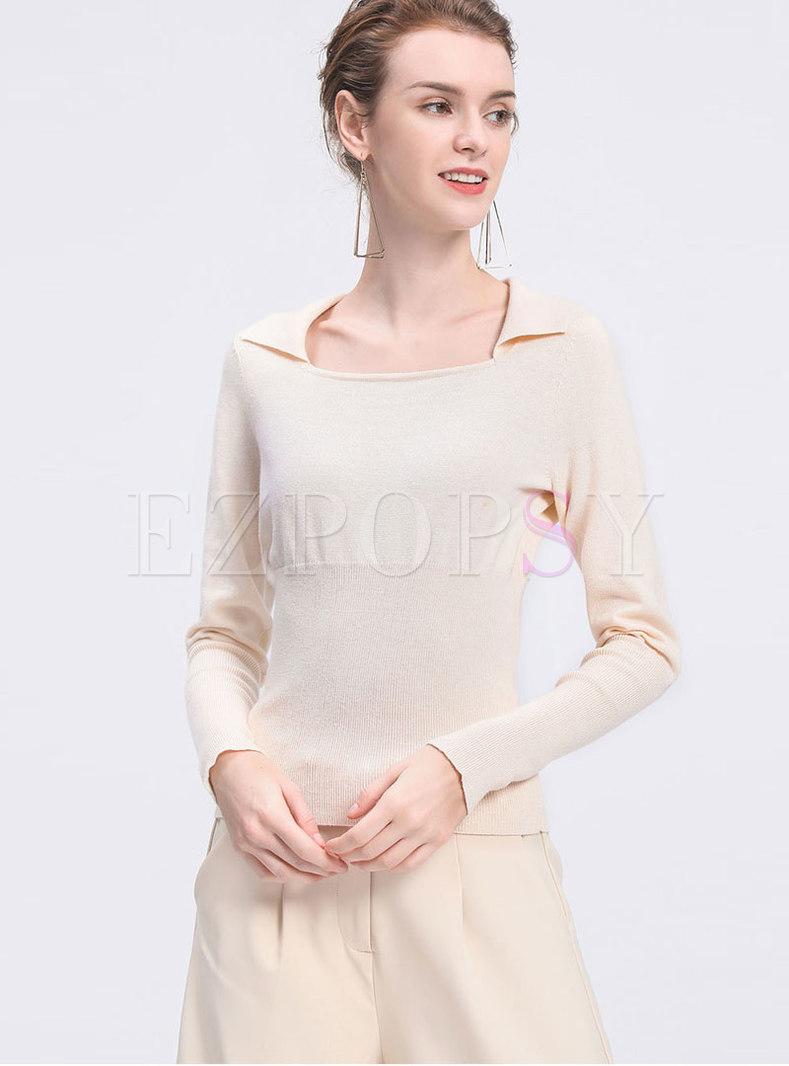 Chic Polo Collar Gathered Waist Slim Sweater