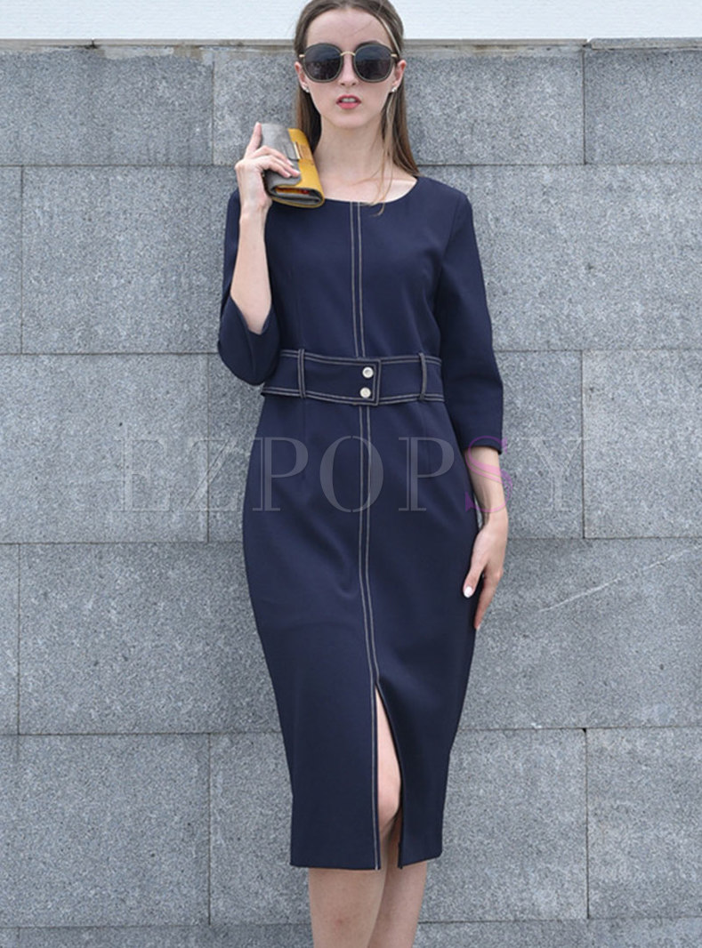 Elegant O-neck High Waist Slit Sheath Dress
