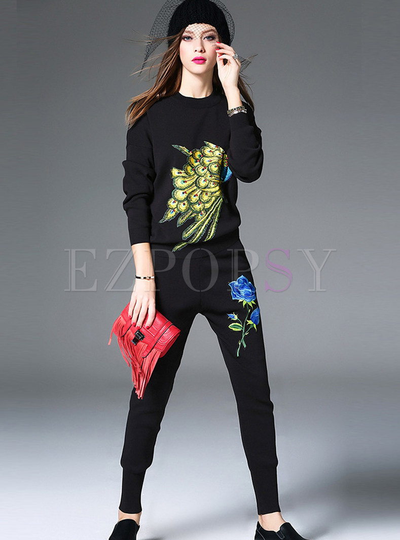 Casual Long Sleeve Pullover Slim Two Piece Outfits