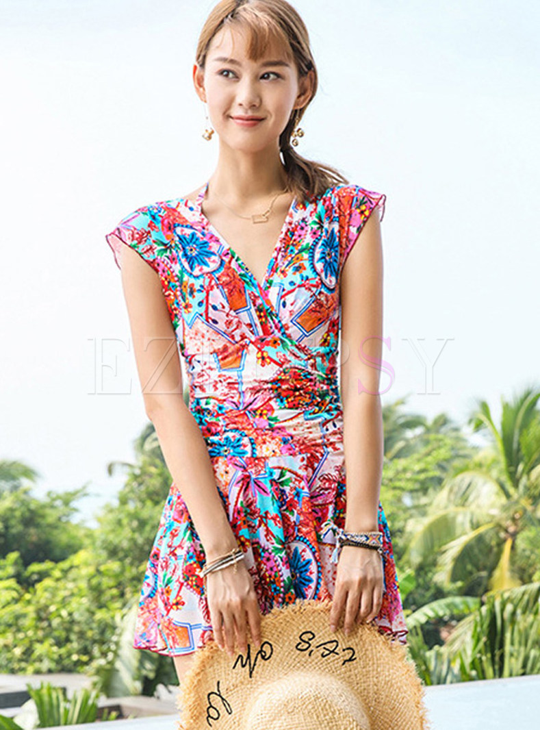 V-neck Tied Floral Conservative One Piece Swimwear