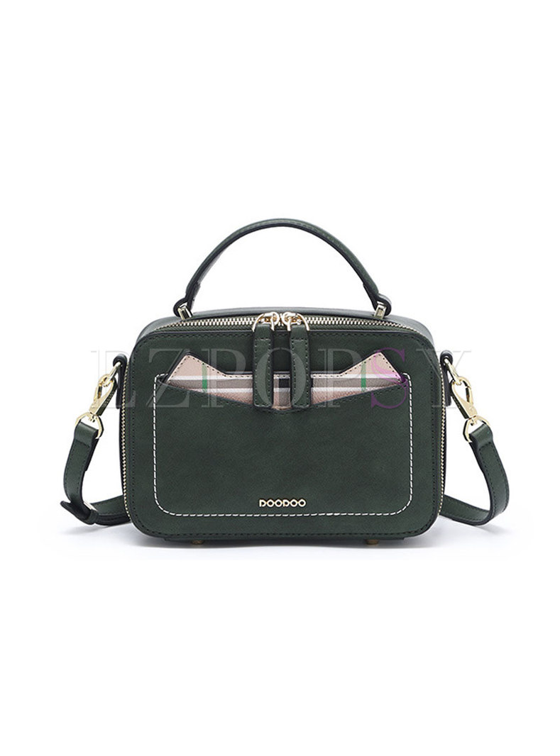 Army Green Vintage All-matched Top Handle Bag