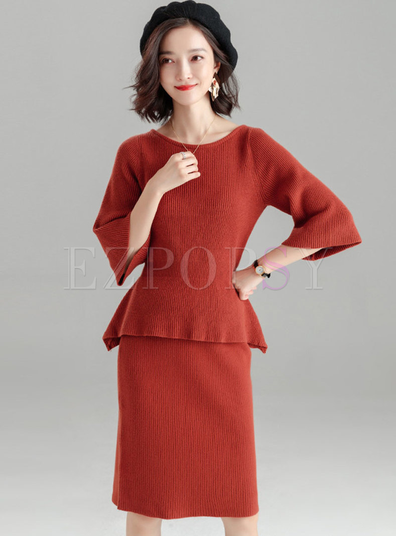 Pure Color Three Quarters Sleeve Waist Knitted Top & High Waist Slim Skirt