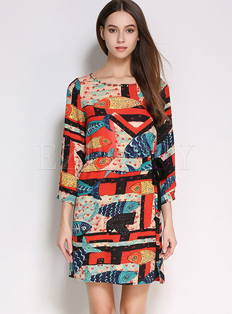 Multi Color Print O-neck Beaded Tie-waist Mini Dress