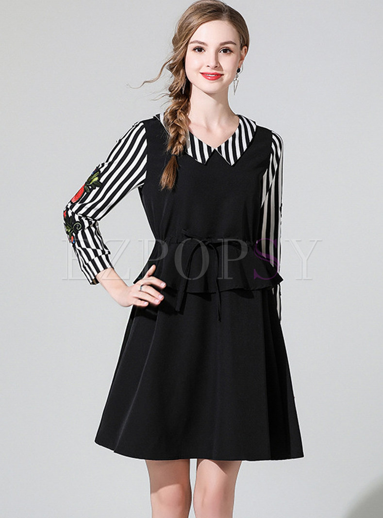 Lapel Striped Splicing Waist Plus Size Skater Dress