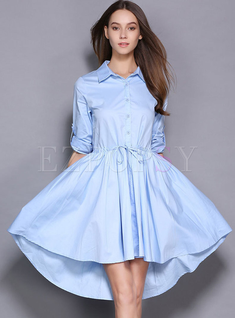 Stylish Lapel Single-breasted Tie-waist Asymmetric Hem Dress