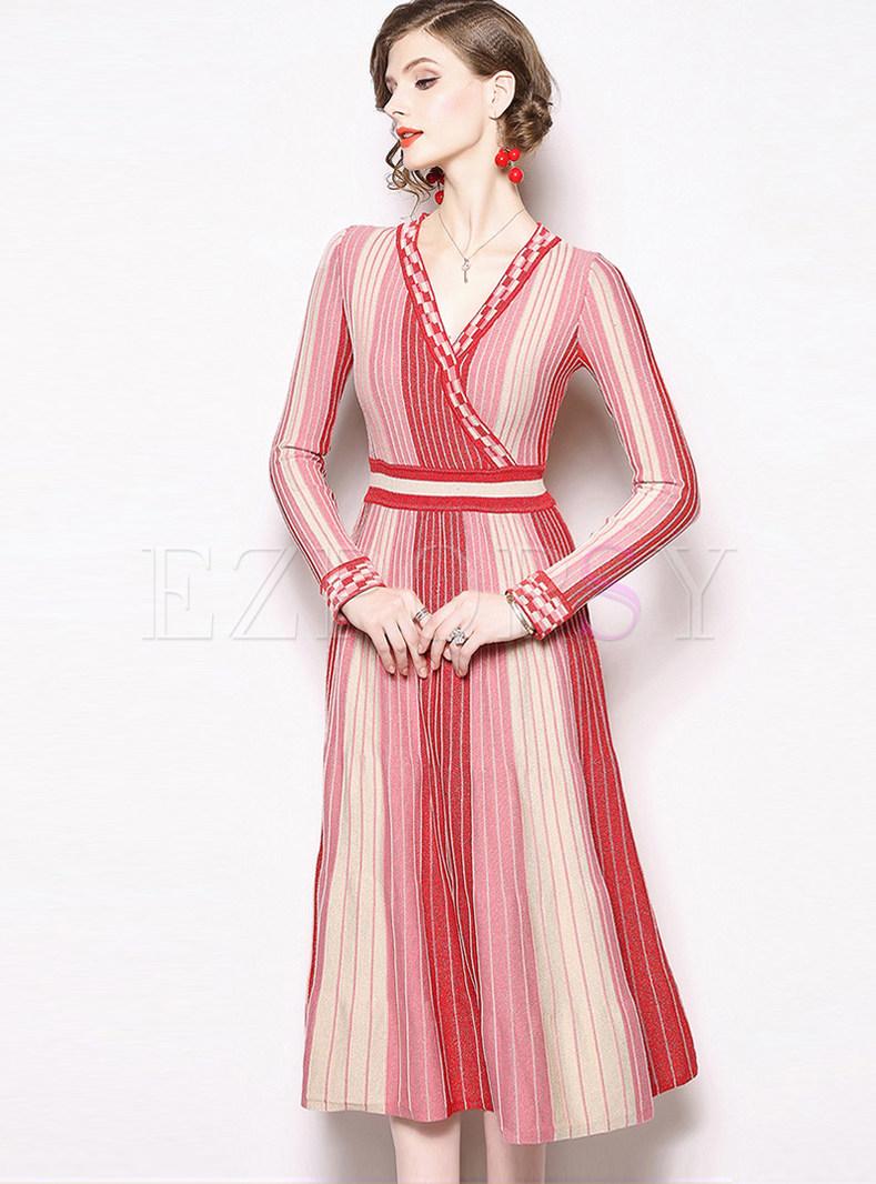 Fashion Striped High Waist Knitted A Line Dress