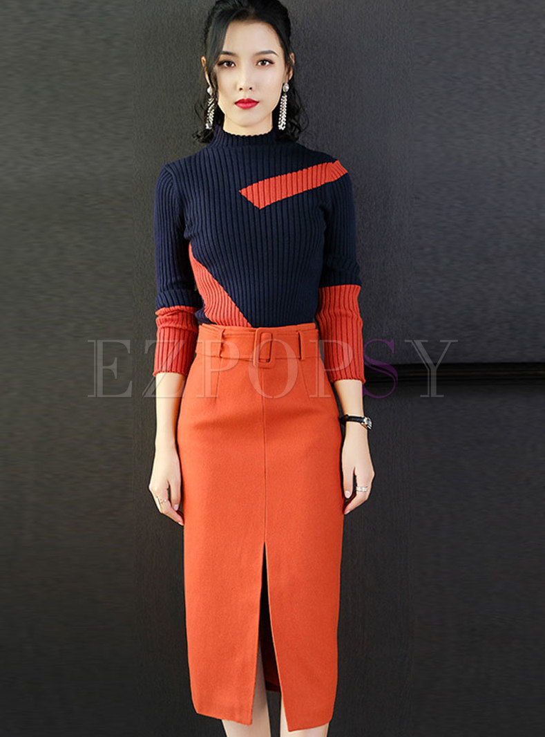 Stylish Color-blocked Knitted Sweater & High Waist Wrap Skirt