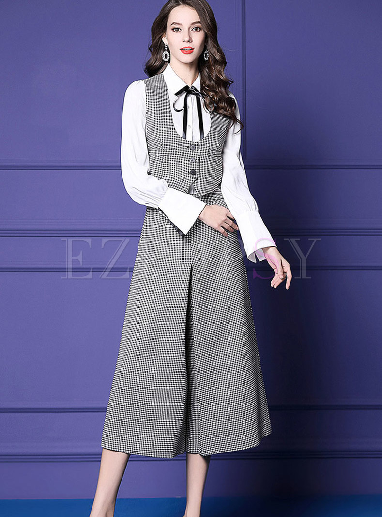 British White Blouse With Plaid Vest & High-rise Wide-leg Pants