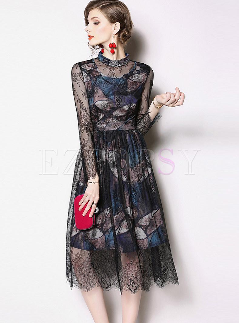 Standing Collar Perspective Waist Long Sleeve Lace Dress