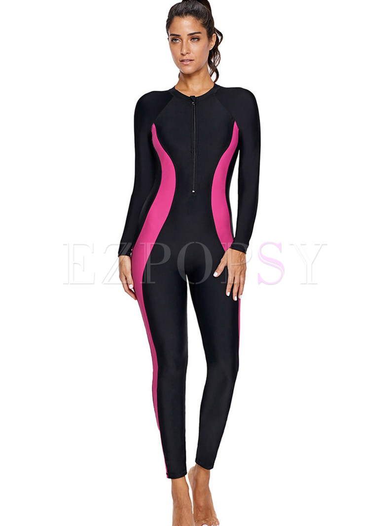 O-neck Long Sleeve Color-blocked One Piece Swimwear
