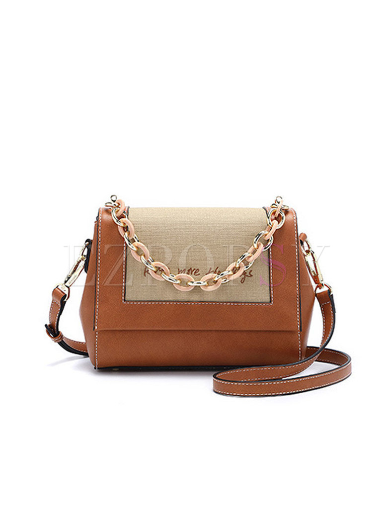 Stylish PU Caramel Chain Crossbody Bag With Magnetic Lock
