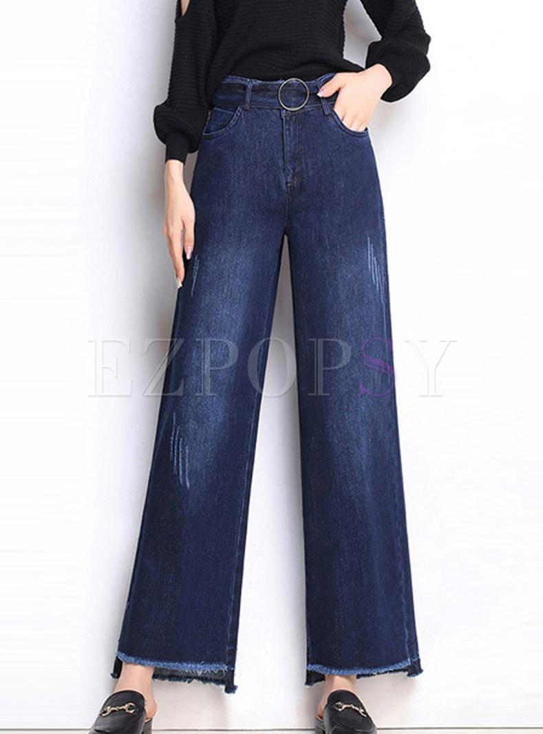 Trendy Plus Size Irregular Rough Selvedge Denim Pants
