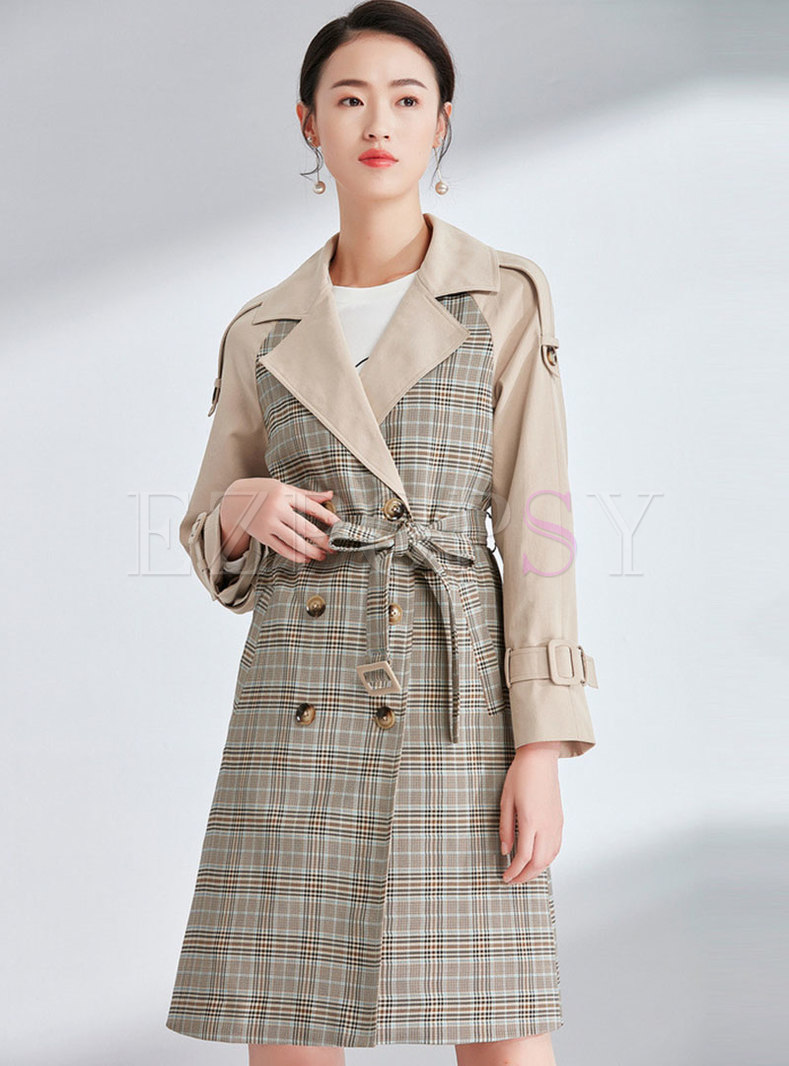 half off bb11a 4867c Elegant Plaid Splicing Notched Double-breasted Slim Trench Coat