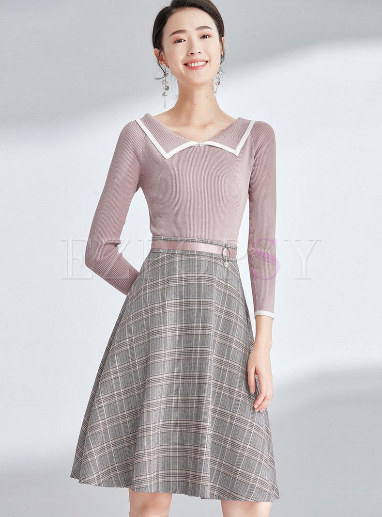 Color-blocked Lapel Slim Top & High Waist Grid A Line Skirt