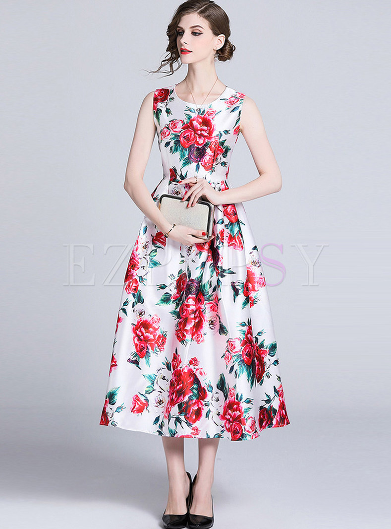 Brief O-neck Sleeveless High Waist Print Big Hem Dress