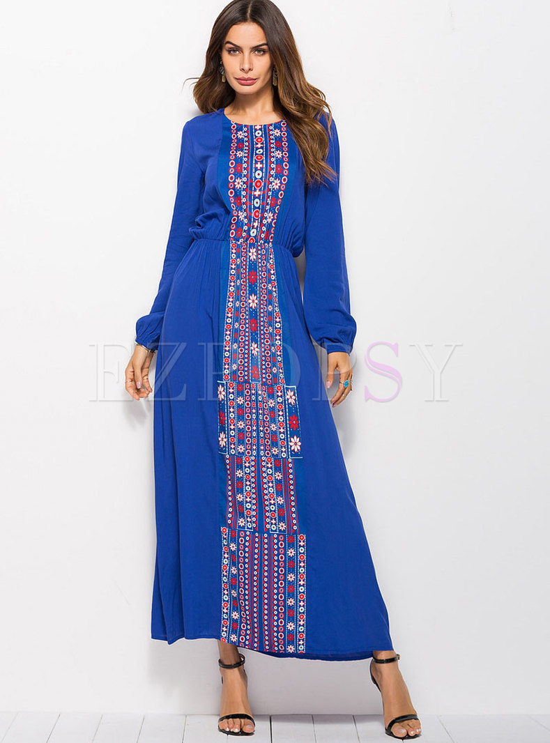 Fashion Crew-neck Long Sleeve Printed Maxi Dress