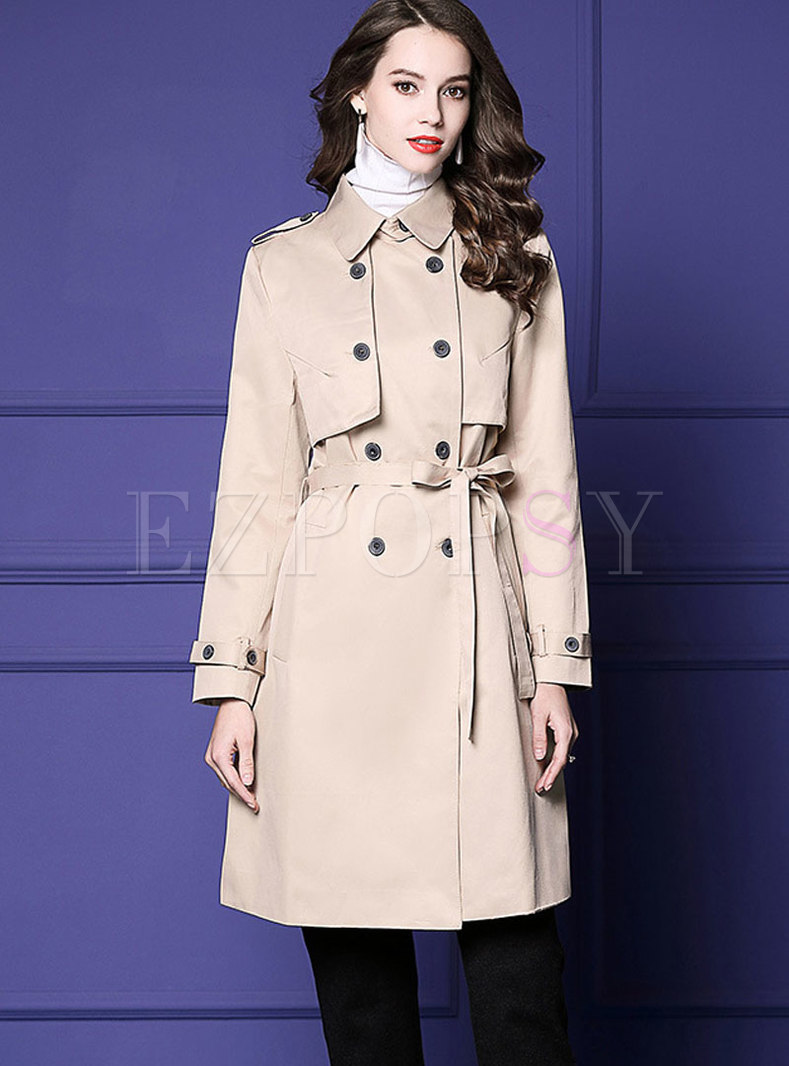 Stylish Work Daily Turn-down Collar Midi Coat
