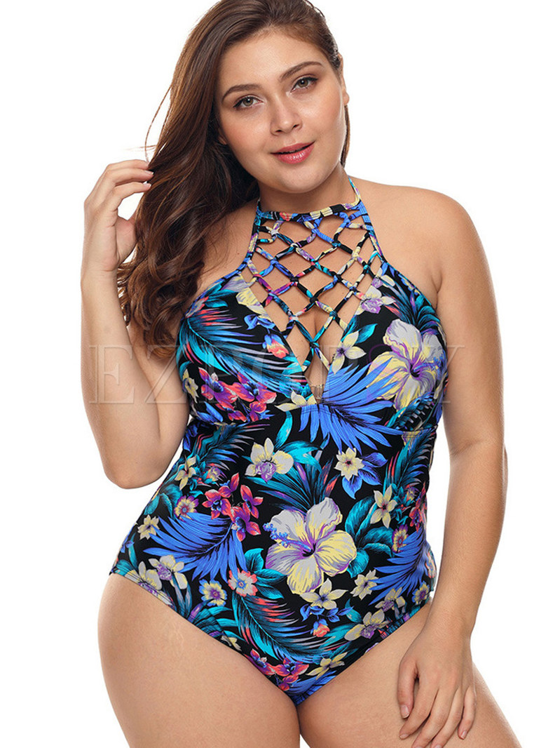 Backless Halter Tied Hollow Out One Piece Swimwear