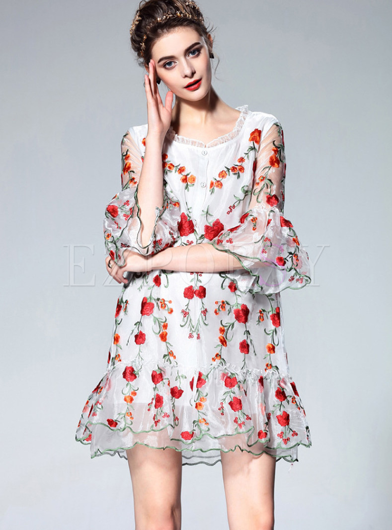 Ethnic Embroidered Half Sleeve Single-breasted Dress