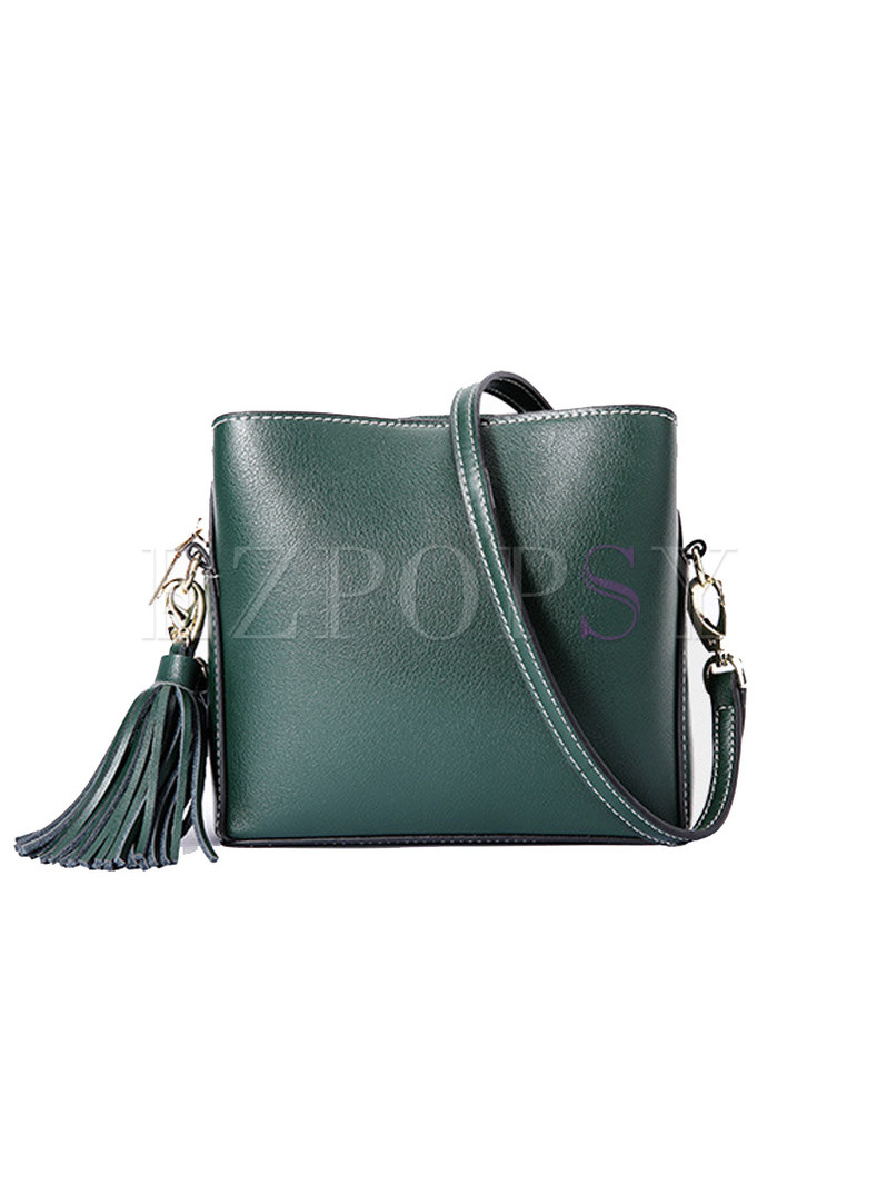 Stylish Genuine Leather Zipper Pocket Crossbody Bag
