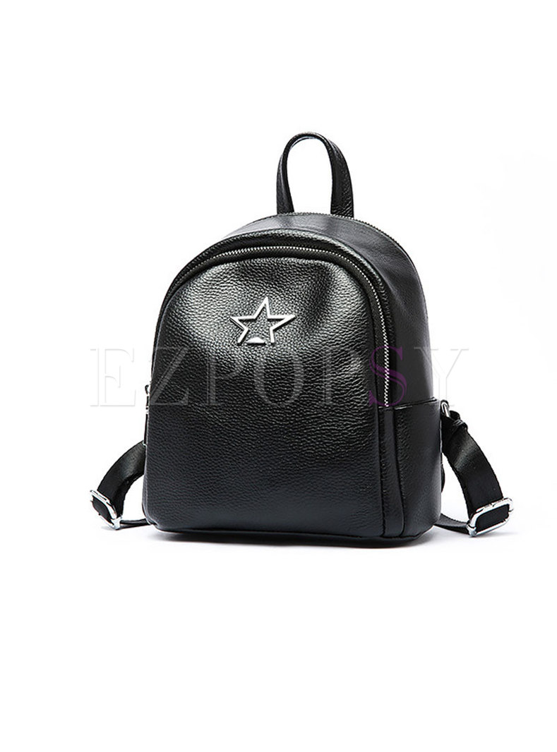 Stylish Black Solid Zipper Backpack With Metal Detail
