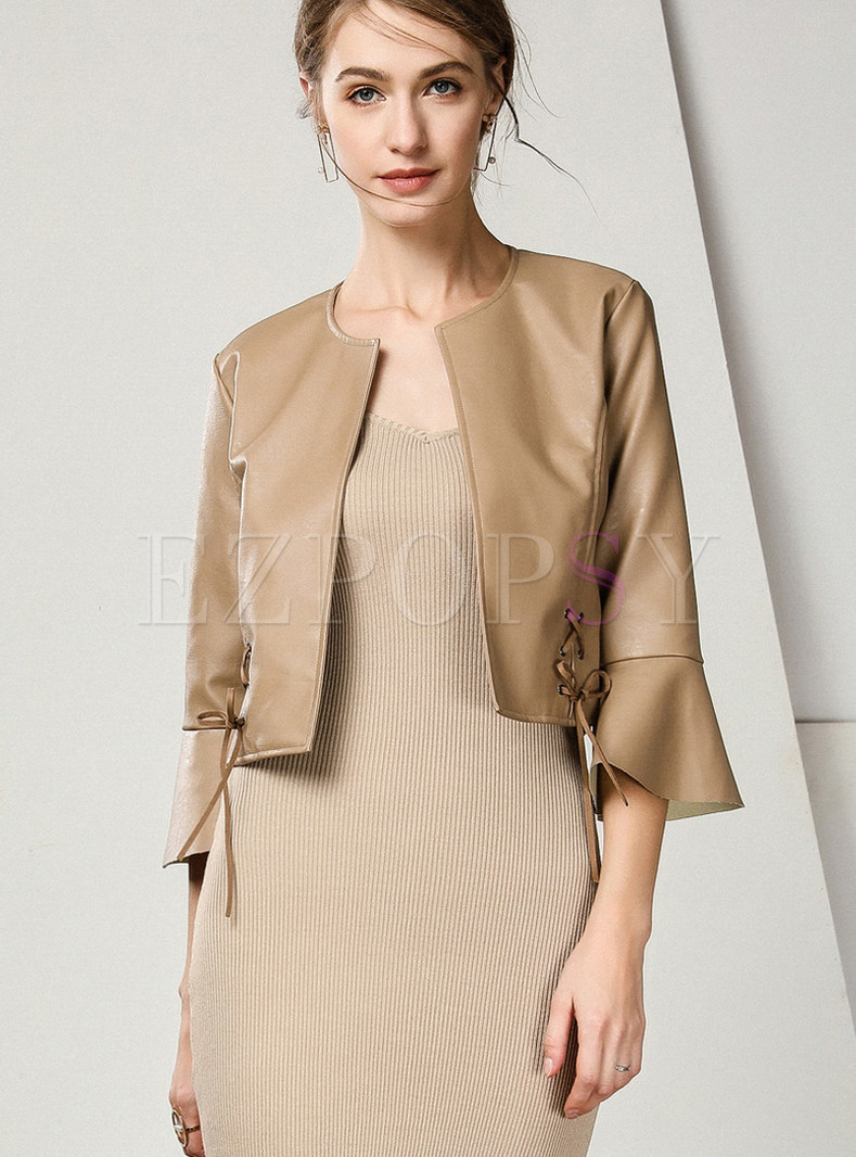 Solid Color O-neck Flare Sleeve Short PU Coat