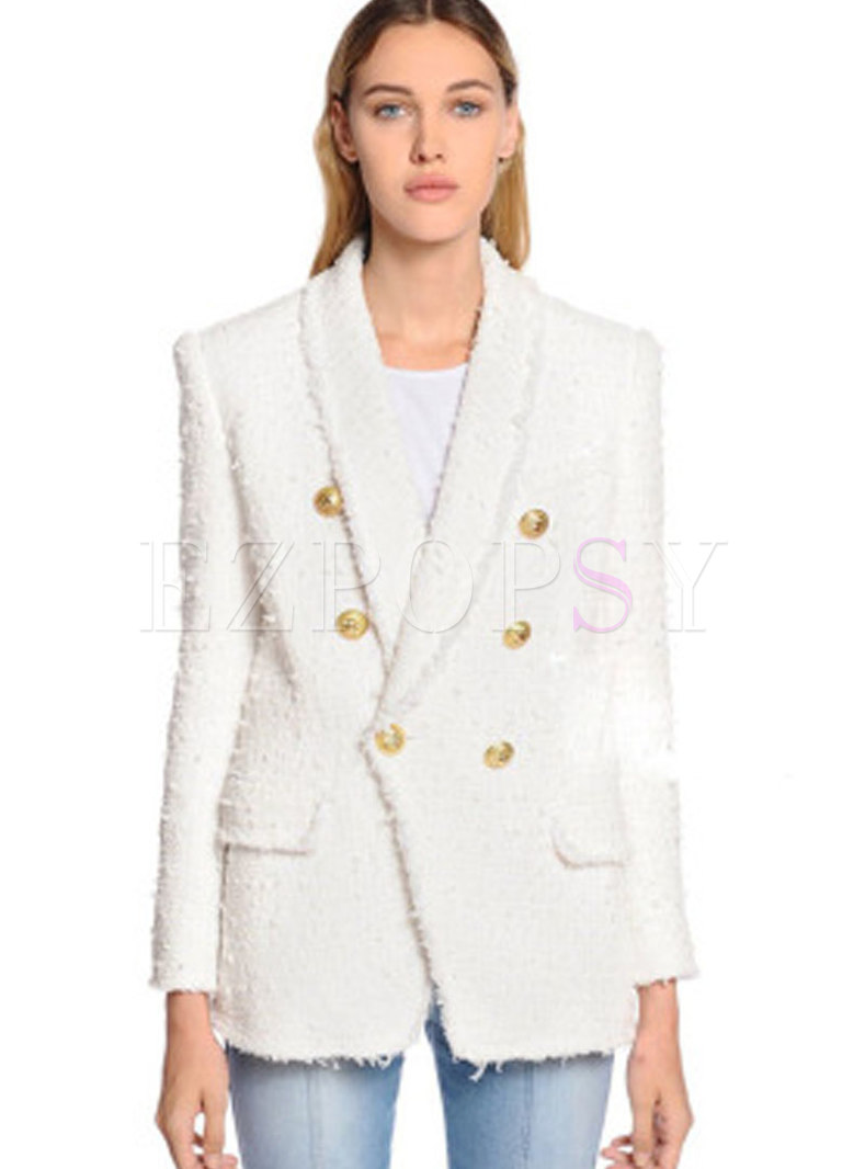 White Work Daily Double-breasted Hairy Blazer