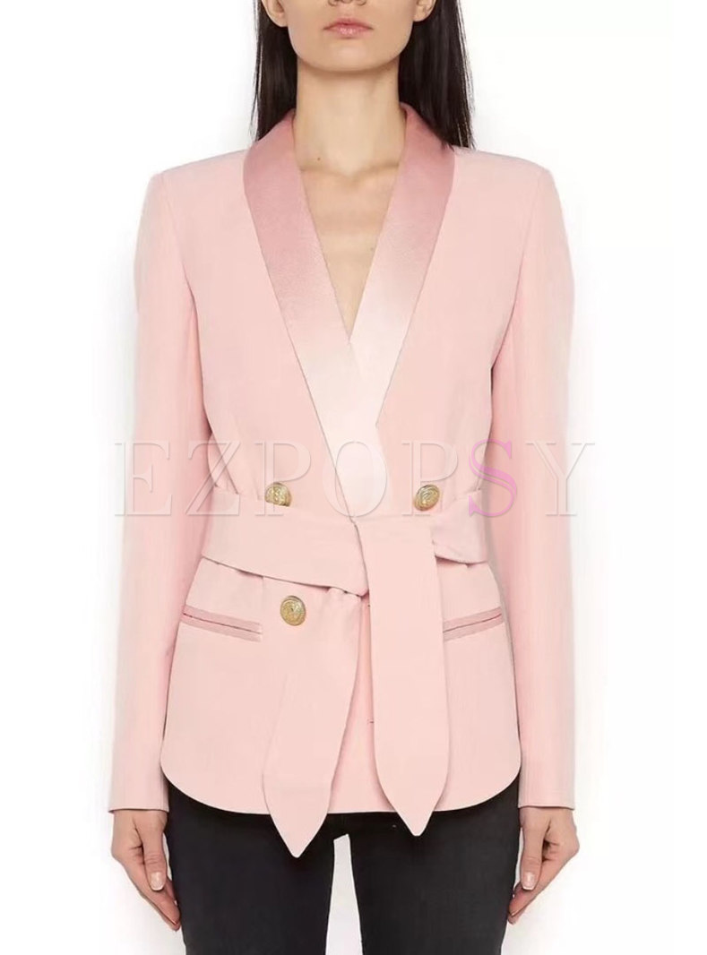 Fashion Work Daily Pure Color Belted Blazer