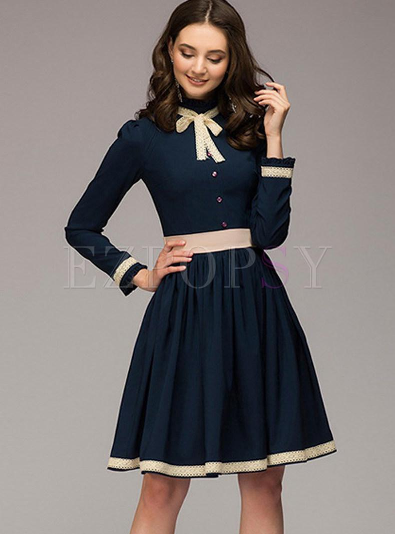 Brief Navy Tie-neck Bowknot Slim Skater Dress