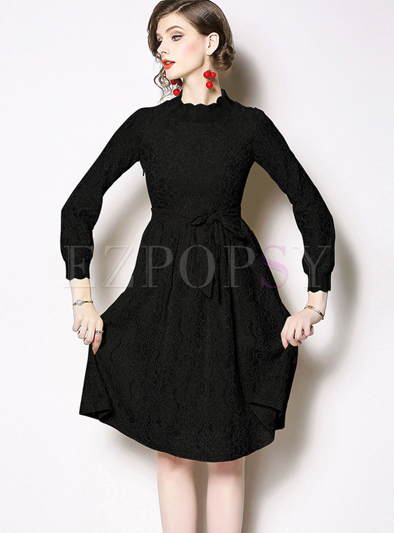 Standing Collar High Waist Knee-length Lace A Line Dress